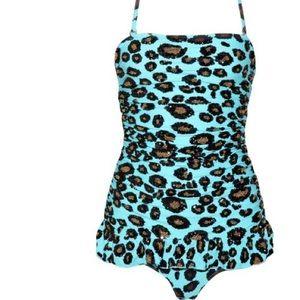 manoush Swim - Manoush sequin strapless swimsuit leopard